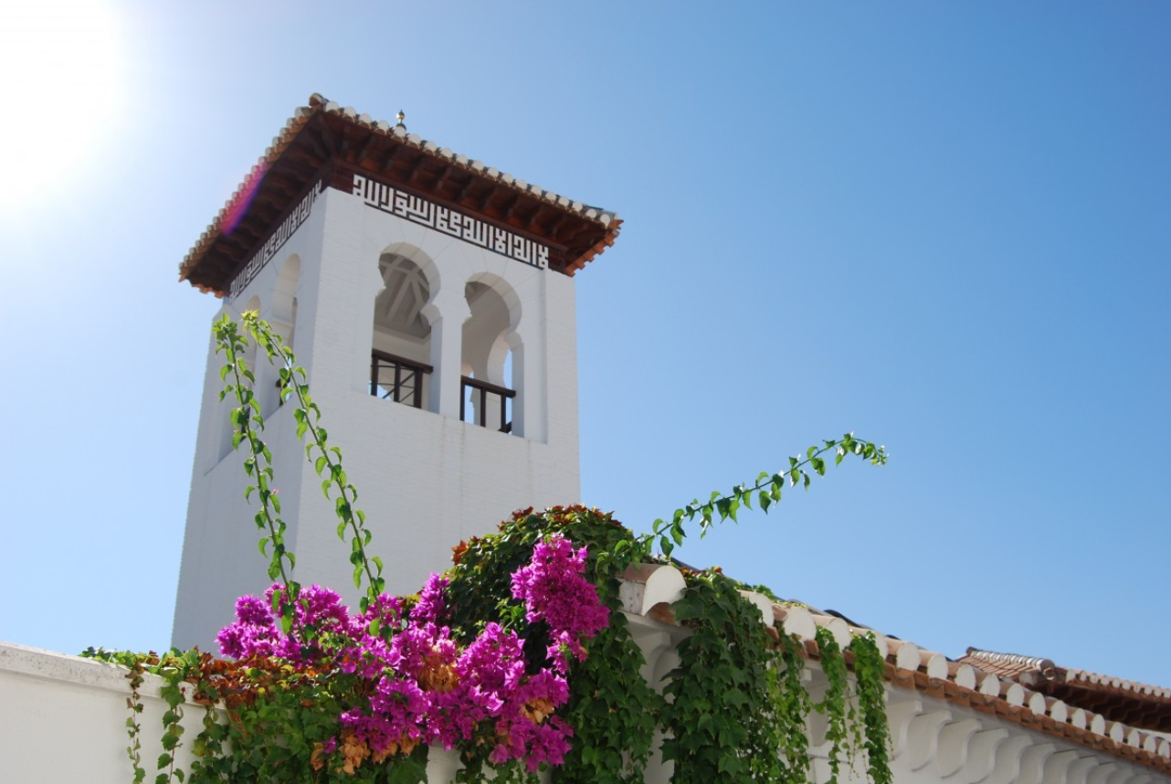 sky, villa, house, flower, building, vacation, tower, blue, tourism, spain